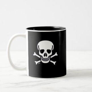 Skull n Bones Black 2-tone right hand coffee mug