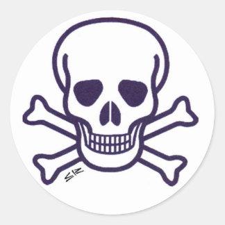 Skull n Bones round white sticker