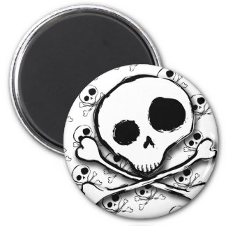 Skull N Bones with backdrop 2 Inch Round Magnet
