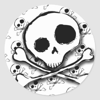 Skull N Bones with backdrop Classic Round Sticker