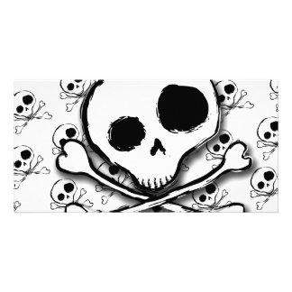 Skull N Bones with backdrop Photo Greeting Card