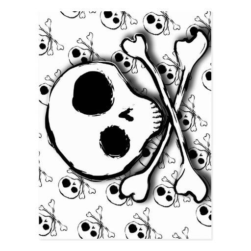 Skull N Bones with backdrop Postcard