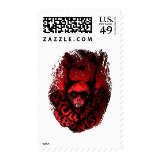 """Skull 'n """"Cross"""" Bones...red Postage"""