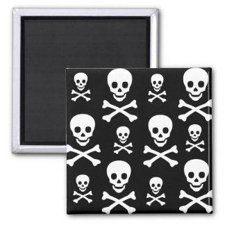 Skull N Crossbones 2 Inch Square Magnet