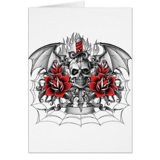 Skull n Dagger with Devil wings Greeting Card