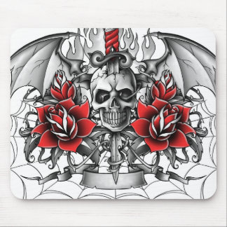 Skull n Dagger with Devil wings Mouse Pad