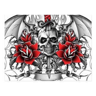 Skull n Dagger with Devil wings Postcard
