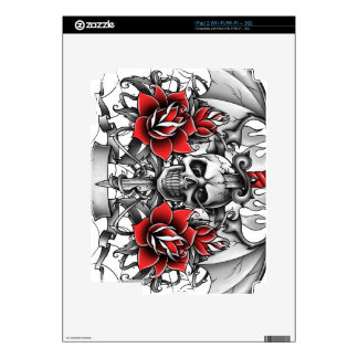 Skull n Dagger with Devil wings Decal For iPad 2