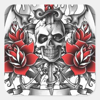 Skull n Dagger with Devil wings Square Sticker