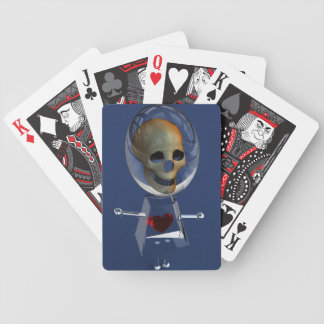 Skull N Heart Glass Girl Playing Cards