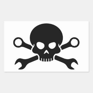 Skull 'n' Tools - Screw Pirate 1 (black) Rectangular Stickers