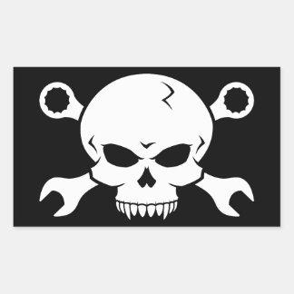 Skull 'n' Tools - Screw Pirate 2 (white) Rectangular Sticker