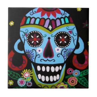 Skull nativo Dia de Los Muertos Tiles por los pris Azulejo Cuadrado Pequeño