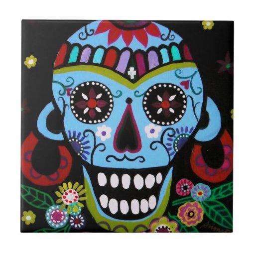 Skull nativo Dia de Los Muertos Tiles por los pris Teja Cerámica