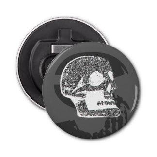 Skull - Negative Grey Button Bottle Opener