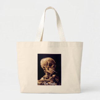 Skull of a Skeleton with Burning Cigarette Canvas Bags