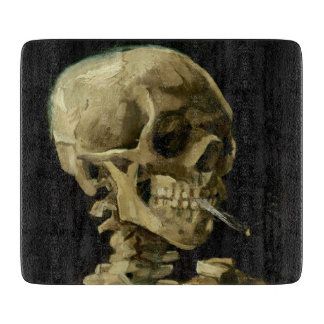 Skull of a Skeleton with Burning Cigarette by Vinc Cutting Board