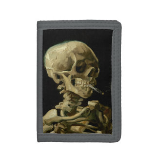Skull of a Skeleton with Burning Cigarette by Vinc Tri-fold Wallet