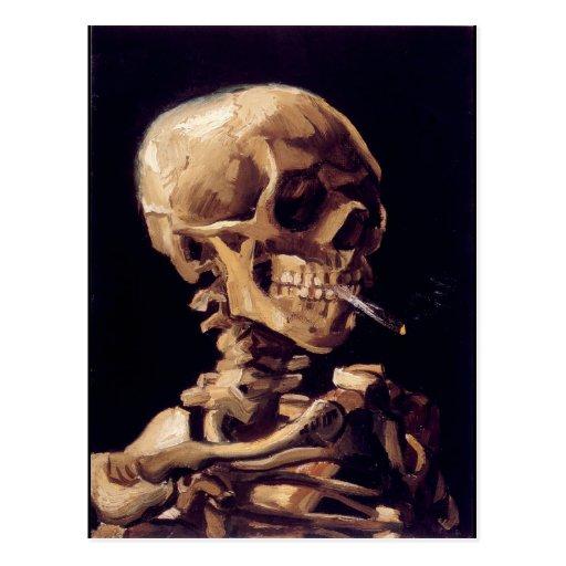 Skull of a Skeleton with Burning Cigarette Postcard