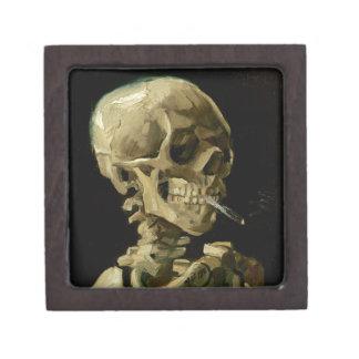 Skull of a Skeleton with Burning Cigarette Premium Trinket Boxes