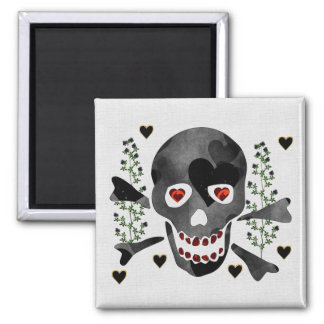 Skull of Hearts 2 Inch Square Magnet