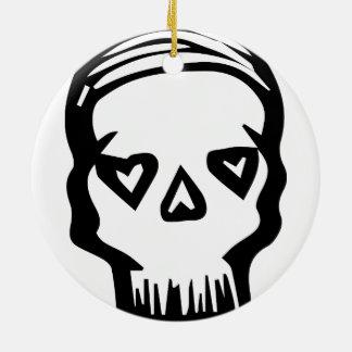 Skull of Hearts Ceramic Ornament
