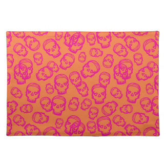 Skull of Hearts - Pink & Orange Placemats
