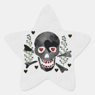 Skull of Hearts Star Sticker