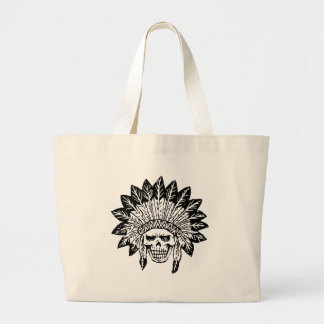 Skull Of Indian Large Tote Bag