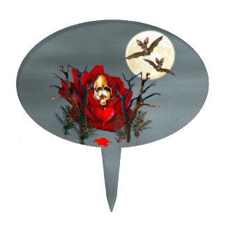 Skull Of Love and Bats Cake Topper