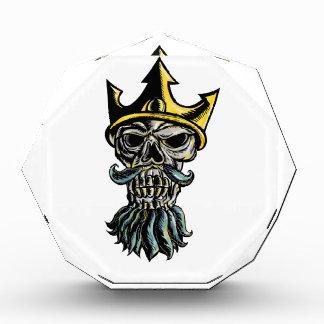 Skull of Neptune Trident Crown Head  Woodcut Acrylic Award