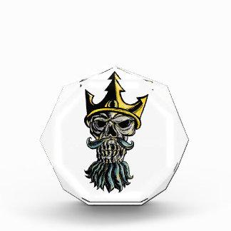 Skull of Neptune Trident Crown Head  Woodcut Award