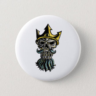 Skull of Neptune Trident Crown Head  Woodcut Pinback Button