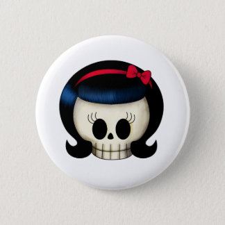 Skull of Rockabilly Girl Button