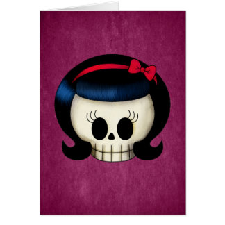 Skull of Rockabilly Girl Card