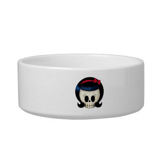 Skull of Rockabilly Girl Cat Water Bowls
