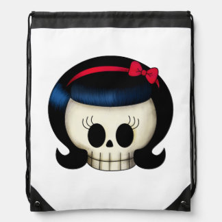 Skull of Rockabilly Girl Drawstring Bag