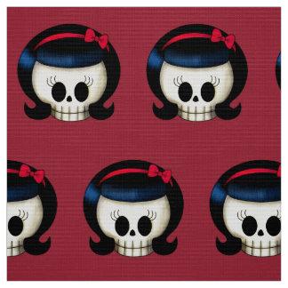 Skull of Rockabilly Girl Fabric