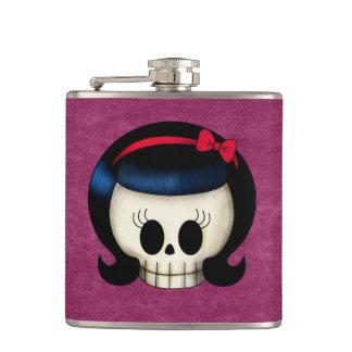 Skull of Rockabilly Girl Hip Flask