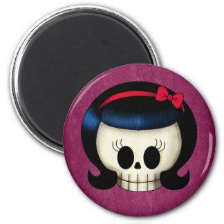 Skull of Rockabilly Girl 2 Inch Round Magnet