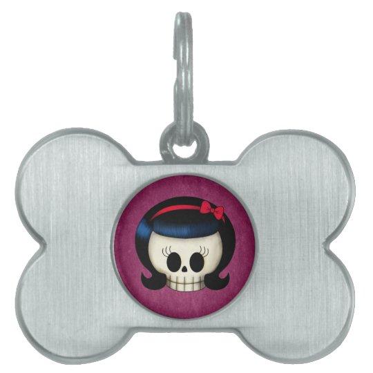 Skull of Rockabilly Girl Pet Name Tag
