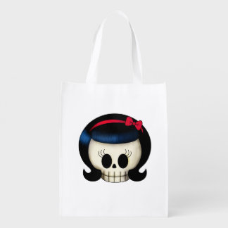 Skull of Rockabilly Girl Reusable Grocery Bags