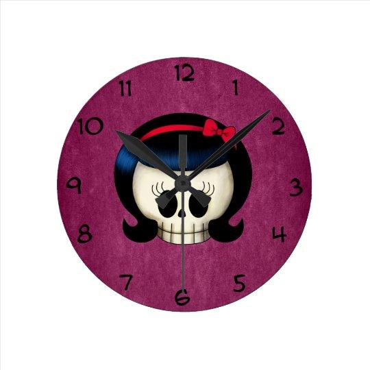Skull of Rockabilly Girl Round Clock