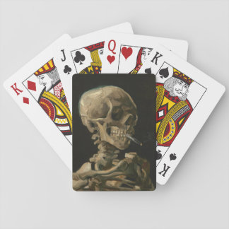 Skull of Skeleton with Burning Cigarette Van Gogh Playing Cards