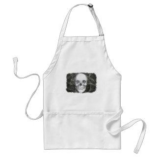 Skull on black adult apron
