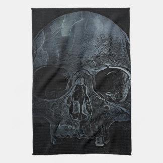 Skull on black background towels