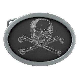 Skull on Black Oval Belt Buckle