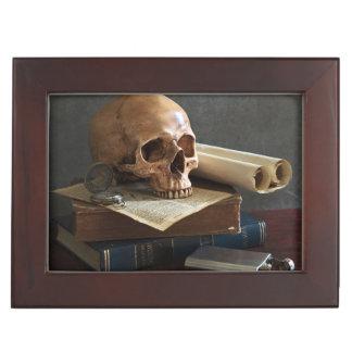 Skull on Books custom text keepsake box