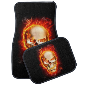 Skull On Fire #2 Car Mat