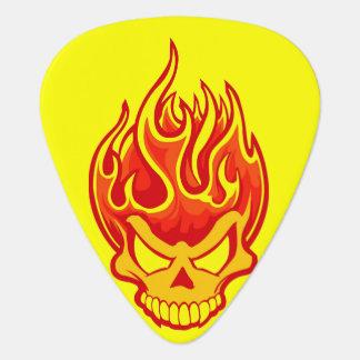 Skull On Fire Bright Yellow Guitar Pick